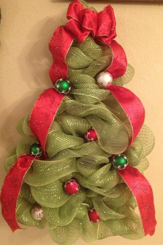 Items Similar To Deco Mesh Christmas Tree Wall Hanging Or