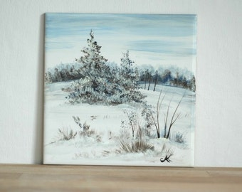 Hand-painted tile with winter theme