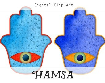Hamsa Hand Digital Collage Sheet, Hand of Fatima, Amulet Clipart, Buddhist Clipart, Instant Digital Download