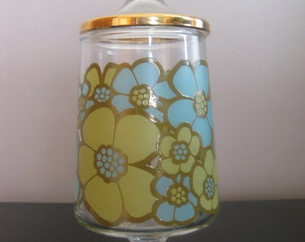 Vintage Mod Flowered Glass Apothecary Jar - Blue & Green Flowers!
