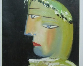 Pablo Picasso, Portrait de Marie Therese, Oil Painting Reproduction on Linen Canvas, Handmade Quality