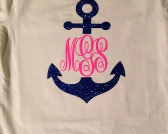 Glitter Anchor T-Shirt with Monogram