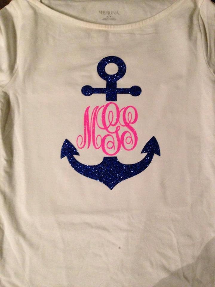 Glitter Anchor T Shirt With Monogram