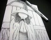 HOODED: Original Art - Pen and Ink illustration, surreal doodle art -8.5x5.5