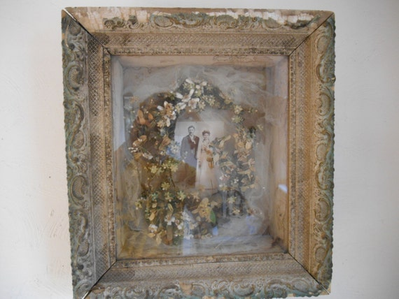 Vintage wedding photo in shadow box with veil by wimseybooks for Wedding dress shadow box for sale