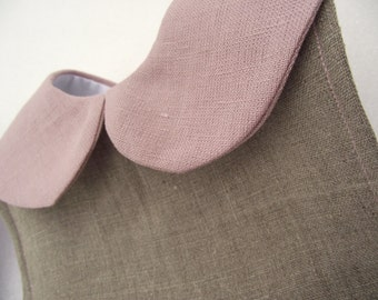Natural linen Peter Pan collar bib,waterproof.Baby girl new baby baby shower gift