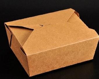 50pcs of Kraft paper lunch box, take away box B size 16.9 x 13.7cm