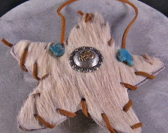 Rustic Cowhide Western Folkart Star Ornament Concho Turquoise