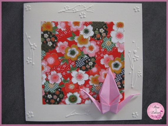 carte origami grue parmi les fleurs de cerisier. Black Bedroom Furniture Sets. Home Design Ideas