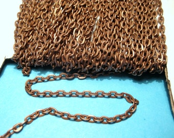 30 Ft /Spool Antique Copper Plated Cable Chain Flat Oval Cross Links-Opened Chain.4x3mm (No.80)
