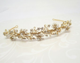 Gold Bridal headpiece, Wedding tiara, Bridal headband, Pearl and rhinestone headband, Gold Bridal tiara