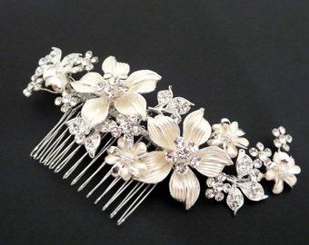 Bridal hair comb, Wedding hair comb, Bridal headpiece, Flower headpiece, Rhinestone hair comb, Wedding headpiece, Flower hair accessory