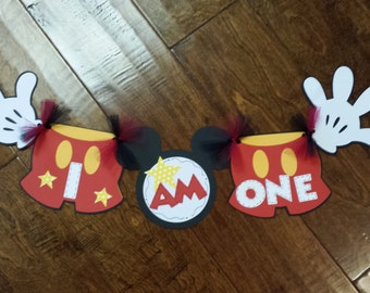 """Mickey Mouse """"I am one"""" Highchair Banner"""