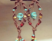 Festive sugar skull hemp earrings