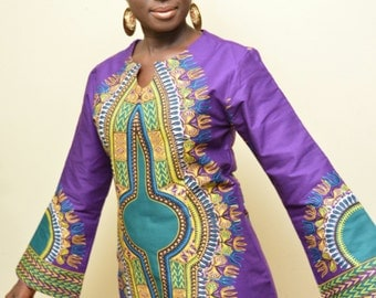 A Beautiful Dashiki Dress with long bell  sleeves