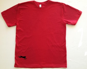 Men's Silkscreened Organic Cotton Fine Jersey Short Sleeve Crew Panther LARKSHAPES Tee