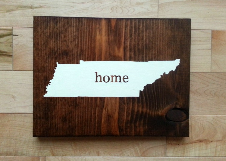 tennessee state map home wood sign by scrappymadison on etsy