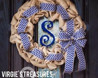 Modern Natural Burlap wreath- Blue Chevron-Monogram Curly Cue Wreath- Everyday Wreath-Housewarming-18 inch Naturla Burlap Wreath