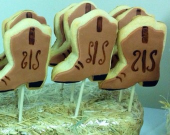 Cowboy Boot Cookies on a stick