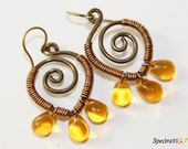 RESERVED - Wire Wrapped Chandeliers - Teardrop Earrings - Teardrop Chandeliers - Yellow Teardrop Earrings
