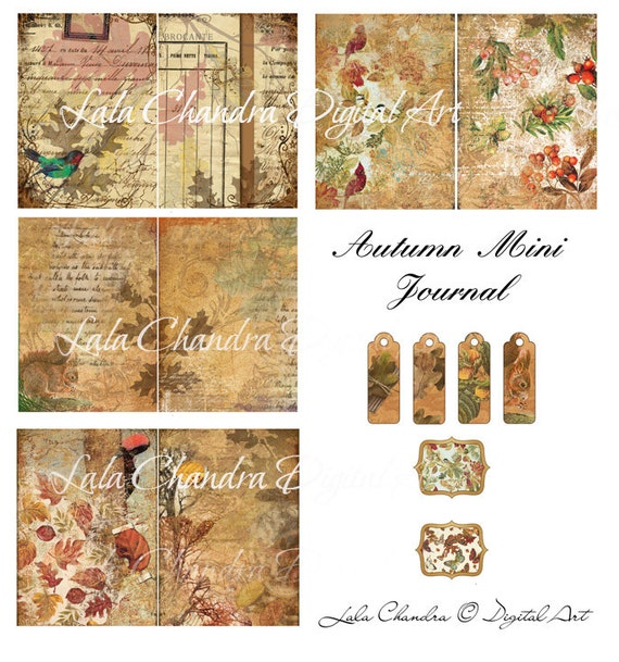 Autumn  Mini Journal printable INSTANT DOWNLOAD digital background Scrapbooking decoupage paper