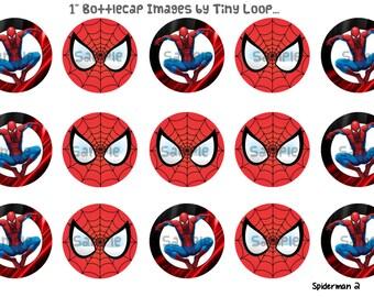 "15 Spiderman Bottlecap Images 1"" Circle 4x6 Instant Download"