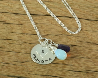Sterling Silver Personalized Hand Stamped Grandma Charm Necklace