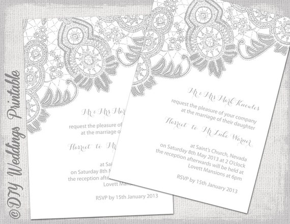 Silver Wedding Invitations: Lace Wedding Invitation Template Silver Gray On White