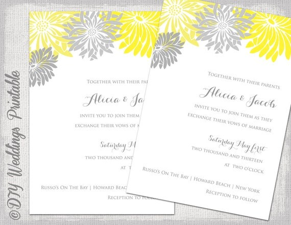 Yellow Grey Wedding Invitations: Wedding Invitation Template Yellow & Gray DIY Summer Wedding
