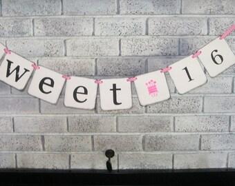 Sweet 16 Birthday Banner/Pink/Girl