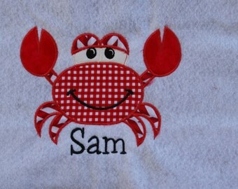 Crab Applique with Name