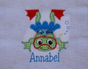 Swimming Girl  Frog Applique
