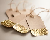 Set of 8 Gold Glitter Gift Tags, Holiday Gift Wrap, Metallic Gift Tags, Blank Tags, Kraft Gift Tags