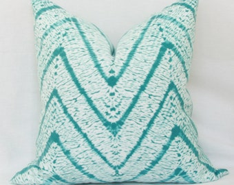 Turquoise & white batik chevron indoor/outdoor pillow cover. 18 x 18. 20 x 20. 22 x 22. 24 x 24. 26 x 26. euro sham. outdoor pillow cover.