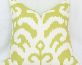 "Lime green ikat pillow cover. 18"" x 18"". 20"" x 20"" pillow cover."
