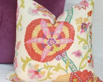 Floral suzani decorative throw pillow cover. 18 x 18. 20 x 20. 22 x 22. 24 x 24. 26 x 26. lumbar sizes