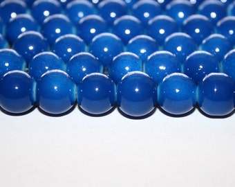 Blue Glass Beads - 10mm - 43ct - D100