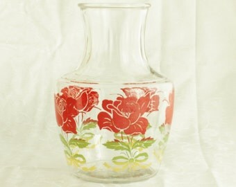 Vintage Anchor Hocking juice carafe with red rose motif, cottage chic décor