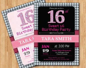 Sweet 16 birthday party invitation printable. Sweet sixteen diamond 16 number birthady party invites. Pink and Black. Any custom color.