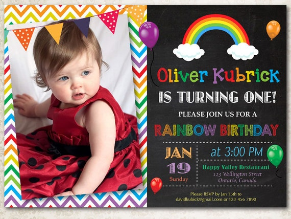 rainbow birthday invitation chevron chalkboard boy or girl