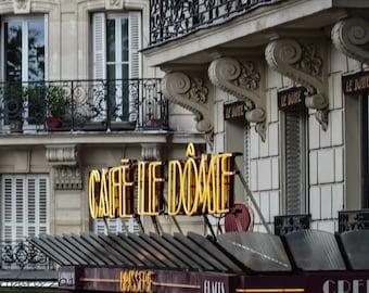 Paris Photography, Paris Photo, French Decor, Paris Decor, Paris Cafe, Cafe le Dome, Neon Light
