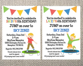 PRINTED or DIGITAL Trampoline Park Jumping Boy/Girl Birthday Party Invitations 5x7 Customized Trampoline Design 0.82 each