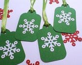 Christmas Snowflake Tags Holiday Gift Tags Handmade Tags Homemade Tags Hanging Tags Gift Bag Tags Green Snowflake Greeting Tags To From Tags