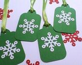 Christmas Snowflake Tags Holiday Gift Tags Handmade Tags Homemade Tags Hanging Tags Gift Bag Tags Green Snowflake Greeting Tags To From Tags