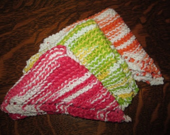Handmade knitted dish cloths