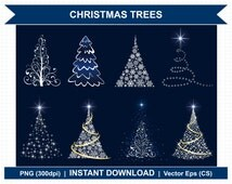 Sparkling Christmas Trees - Digital Clipart
