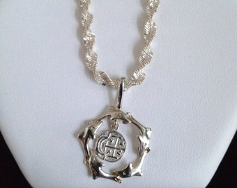 Sterling Silver dolphin and Spanish coin pendant with sterling silver chain/ necklace