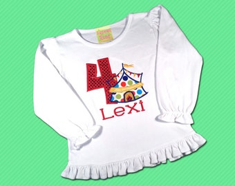 Girl's Carnival Birthday Shirt with Number and Embroidered Name