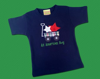 """Boy's Patriotic Shirt with Star Wagon and Embroidered """"All American Boy"""""""