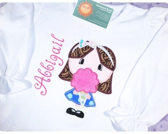 Girl's Candy Shirt with Fluffy Cotton Candy and Embroidered Name